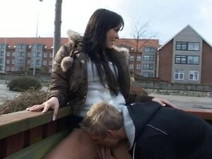 A wild and sexy brunette gets it on with some dude in a public sex scene.
