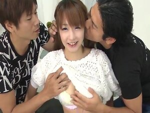 Cute teen Sana Anzyu with two buddies playing doctor with each other