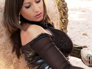Sensuously stripping her black outfit, the brunette reveals her wonderful ass and tits