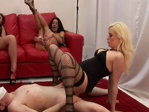 Horny handjob party babes riding on cock