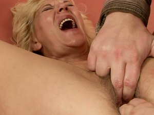 Hard Cock Pounding a Naughty Blond Granny's Hairy Cunt