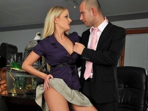 A hot blonde babe loves being left alone in the office with her boss as they boink