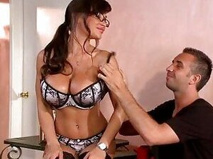 Nerdy milf with enormous hooters in provocative lingerie sucks har cock on her knees