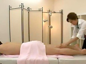 Hot massage woman gets fucked hard and deep on a massage table