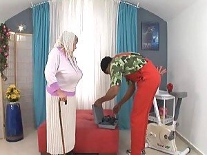 Black guy fucks busty White granny deep and hard