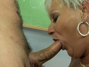 Super sexy granny Cecily getting her mouth busy on a hot young cock