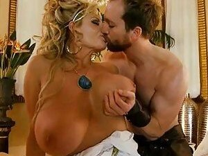 heavy chested blonde momma in hihg heels gets rammed on bed by muscled stud