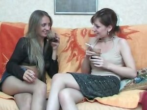Lustful lesbian chicks tasting yummy pussy right through nylon pantyhose