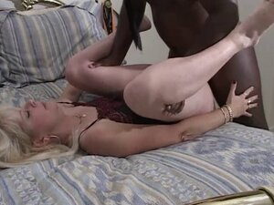 Interracial doggy sex with plump and pale blonde milf
