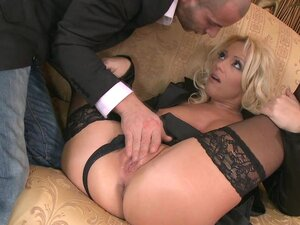 Skirt and stockings blonde fucked hardcore