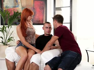 Redhead with two bi-sexual men in threesome of a free for all