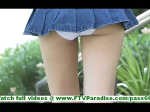 Karina sexy ass blonde in short skirt flashing panties flashing pussy and toying pussy outdoors
