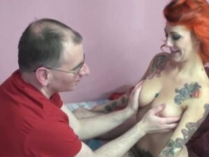 Young tattooed babe sucks old cock