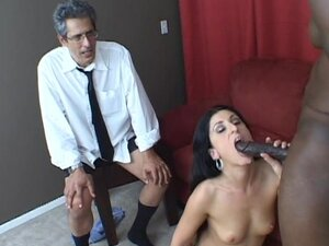 Husband beats his meat while wife Luscious Lopez gets rammed by a black penis