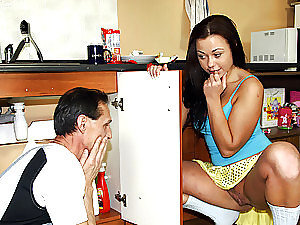Horny younger chick shagging the old plumber