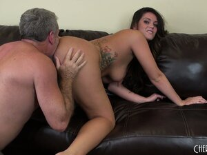 Old lecher licks and fucks the young cunt of Allison Tyler LIVE