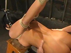 Brunette Loves Getting Tortured As A Big Cock I Pushed Up Her Shaved Pussy