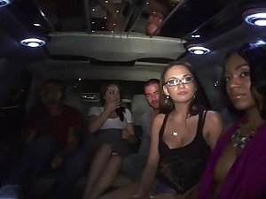 Limo Party Turns into Wild Interracial Group Sex with Ebony and Brunette