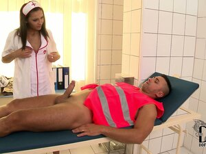 Brunette nurse gets her patient up and ready to plow her pussy