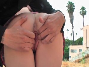 Schoolgirl fondled and spanked with ruler outdoors