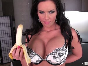 Busty brunette Phoenix Marie fingers and toys her cunt going solo