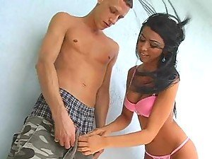 Young brunette girl shows how perfect she works with her fella's cock