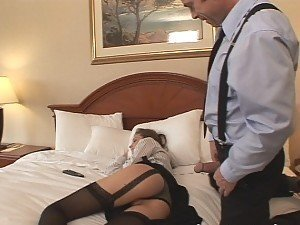 A guy arrives home to see his minx of a maid asleep in his bed so he rides her