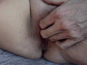 Old man makes young gal's pussy wet. POV