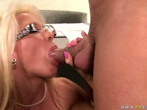 Sexy blonde French teacher trades some head with her horny student