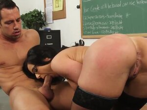 Johnny Castle and this gorgeous spectacled teacher Kendra Lust are fucking like never before. The hottie stays in stockings and high heels before getting licked, sucking & fucking.