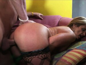 After having her pussy licked this horny mature whore gets slammed by this guy's hard cock