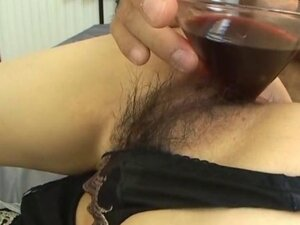 Asian slut Chihiro Misaki is experimenting with her friend and a wine glass that he puts in her hairy pussy and fills with wine. Then he gives her a huge butt plug in her asshole before fucking her hairy pussy and getting a creampie. He also dec