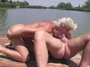 Lewd granny Effie has sex with her husband outdoors