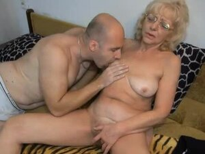 Blonde grandma does a 69 with him