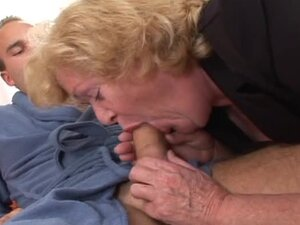 Blonde granny Alice sucks a cock before taking it in her hairy pussy