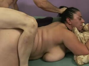 Fat brunette Tanya Tung fucks a guy and gets her hairy pussy coated with cum