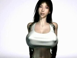 Animated babe with massive breasts enjoying a huge cock