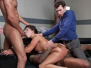 Sexy Latina Gets Double Penetrated In A Gangbang