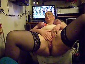 Granny with tits tied up masturbating
