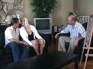 Horny blonde wife and another guy fucking