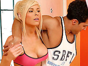 Hot Blonde With Big Titties Gets Her Pussy Fucked By A Guy's Cock.