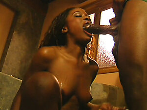 French ebony babe has fun in the bathroom with her lover. Hot video