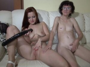 Skinny granny fuck with redhead beauty