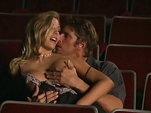Busty Blonde Babe Amber Michaels Gets Banged In a Movie Theater