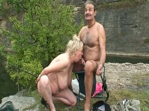 Old fishing couple hooks up with young blonde