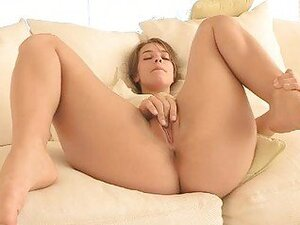 Sofia lovely blonde girl masturbating on the couch