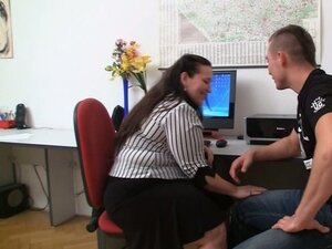 Fat office babe gives this guy a good time