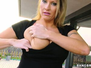 Huge saggy tits and a nice ass on this blonde blowing and titty fucking