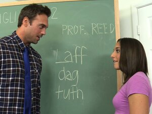 Mischa Brooks sucks his cock so she wont fail her English class