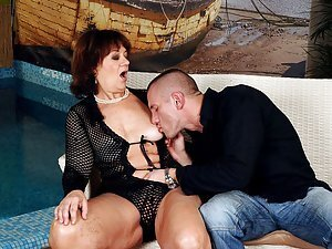 Marsha is an ugly old slutty bitch. she can't control her hunger for sex and always hooks up with younger guys to get her fat and hairy cunt licked. Click here to watch her suck Tomi Hard's throbbing cock and get fucked in her old cunt. Check out Marsha's